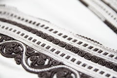 Black and white Moroccan Djellaba embroidery details Stock Photo