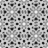 Black, white moroccan ethnic pattern. Seamless pattern with abstract arabesque, mandala, sun, star. Royalty Free Stock Images
