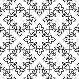 Black and white moroccan pattern. Black and white background. Regular pattern with Moroccan-styled floral elements. Vector seamless repeat Stock Photos