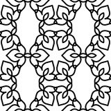 Black and white moroccan pattern. Black and white background. Regular pattern with Moroccan-styled floral elements. Vector seamless repeat Royalty Free Stock Images