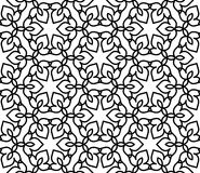 Black and white moroccan pattern. Black and white background. Regular pattern with Moroccan-styled floral elements. Vector seamless repeat Royalty Free Stock Photography