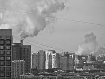 Black and white Moscow city view Royalty Free Stock Images