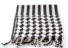 Black and white motley indian scarf isolated Stock Photography