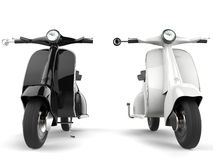 Black and white motor bikes - front view Royalty Free Stock Image