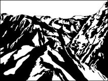 Black and white mountain. Illustration of black and white mountain massive Stock Images