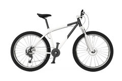 Black and White Mountain Bike. 3d Rendering Royalty Free Stock Photo