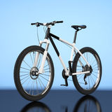 Black and White Mountain Bike. 3d Rendering Stock Image