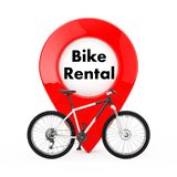 Black and White Mountain Bike in front of Map Pointer Pin with Bike Rental Sign. 3d Rendering. Black and White Mountain Bike in front of Map Pointer Pin with stock illustration