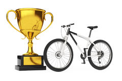 Black and White Mountain Bike with Golden Trophy. 3d Rendering Royalty Free Stock Photo