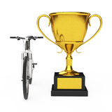 Black and White Mountain Bike with Golden Trophy. 3d Rendering Stock Images