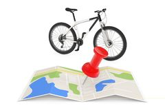 Black and White Mountain Bike Near Folded Abstract Navigation Ma. P with Pin on a white background. 3d Rendering Stock Photography