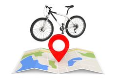 Black and White Mountain Bike Near Folded Abstract Navigation Ma Stock Photo