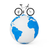 Black and White Mountain Bike over Earth Globe on a white. 3d Re Stock Photo