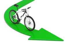 Black and White Mountain Bike over Green Direction to Success Ar. Row on a white background. 3d Rendering Royalty Free Stock Photos