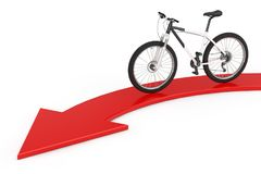 Black and White Mountain Bike over Red Direction to Success Arro. W on a white background. 3d Rendering Royalty Free Stock Images