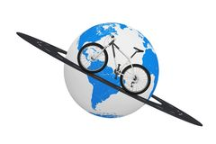 Black and White Mountain Bike over Road Around Earth Globe. 3d R. Black and White Mountain Bike over Road Around Earth Globe on a white background. 3d Rendering Stock Photo