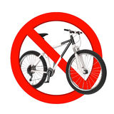Black and White Mountain Bike in Prohibition Red Circle. 3d Rend Royalty Free Stock Photography