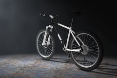 Black and White Mountain Bike  in the Volumetric Light. 3d Rende Royalty Free Stock Photo