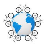 Black and White Mountain Bikes over Earth Globe. 3d Rendering. Black and White Mountain Bikes over Earth Globe on a white background. 3d Rendering Royalty Free Stock Photos