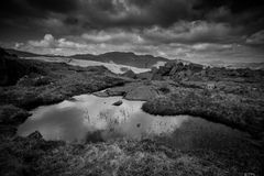Black And White Mountain Landscape Royalty Free Stock Images