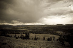 Black and White Mountain Road. Black and White Mountain in Yellowstone Stock Image