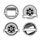 Black and white movie stamps icons. Slate and reel Stock Photo