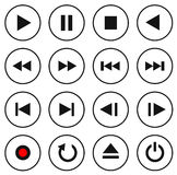Black and white multimedia control button/icon set. Vector illustration Stock Photography