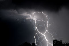 Black and white multiple lightning strike Stock Photos
