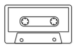 Black and white music, retro, hipster, old, old, antique audio cassette with a shadow from the 80`s, 90`s on a white background. Vector illustration Stock Photos
