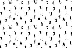 Black and white music seamless background Stock Photos