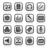 Black and white music, sound and audio icons Stock Photos