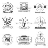 Black And White Music Styles Labels Royalty Free Stock Image