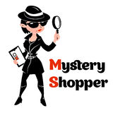 Black and white mystery shopper woman in spy coat Royalty Free Stock Photo