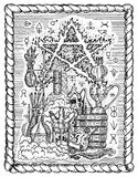 Black and white mystic drawing with alchemical symbols, skull, pentagram and laboratory equipment in frame. Occult and esoteric vector illustration, gothic Stock Images