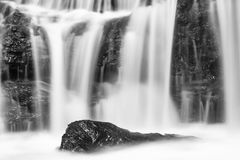 Black and White Nairobi River Waterfall Detail in Kenya Royalty Free Stock Photography