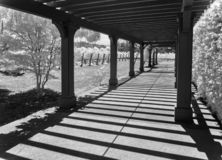 Napa Valley Winery, black and white. Black and white, Napa Valley Winery, view toward the vines royalty free stock photo