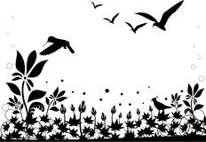 Black and white nature vector. Composition Royalty Free Stock Photo