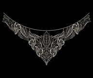 Black and white neckline design. Vector object isolated on black background. Stock Photography