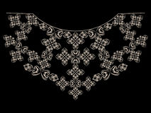 Black and white neckline ethnic design. Geometric lace pattern.Vector print. stock illustration