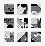 Black and white Neo Memphis geometric poster. Black and white trend Neo Memphis geometric poster set juxtaposed with bold blocks of zig zags, squiggles, erratic stock illustration