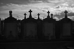 Black & White New Orleans Cemetary. Dramatic black & white silhouette of New Orleans above ground cemetary