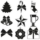 Black and white 9 new year elements silhouette set. Xmas holiday decorations. Vector illustration for icon, logo, sticker, patch, label, badge, emblem Stock Photos