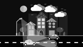 A black and white night city, a small town in a flat style with houses with a sloping tile roof, cars with lights, trees, birds, c. Louds, moon, road, glowing Stock Photo
