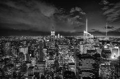 Black and White Night Lights of New York City Royalty Free Stock Photo