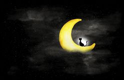 Black and white of night sky with black cat sitting on the moon. vector illustration