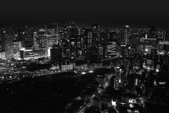 The black and white night view from Umeda Sky Building. Umeda Sky Building is the nineteenth-tallest building in Osaka stock image