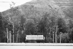Black and white Norway city bus bench transport background Royalty Free Stock Photo