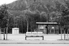 Black and white Norway city bus stop transport background Stock Image