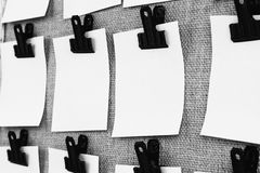 Black and white notice board with notes Stock Photography