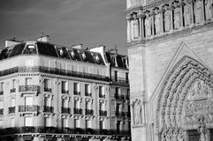 Black & White Notre Dame Square. High contrast black and white image of Notre Dame and the buildings beside it in Paris France Stock Image